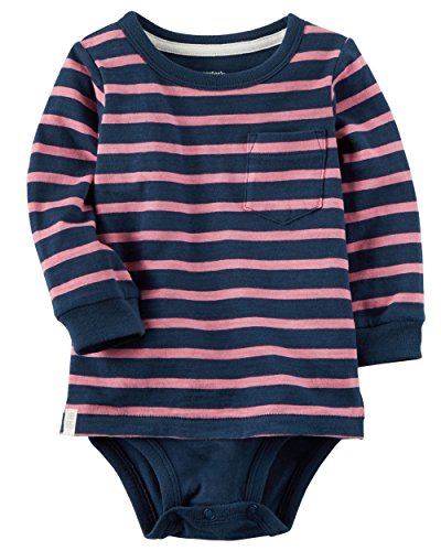 Carter's Boy's Long Sleeve Double Layer Striped Bodysuit; Pink & Navy (12M)