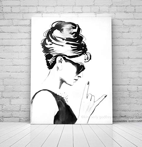 (B&W Audrey Rocks Wall Decor Audrey Hepburn Unique Contemporary Art For Salon - Nail, Beauty & Hair Salon Decor)