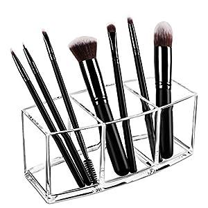 Best Epic Trends 51utSHaXgtL._SS300_ Syntus Makeup Brush Holder Organizer, Acrylic 3 Slot Large Capacity Cosmetic Brushes Storage Box, Clear