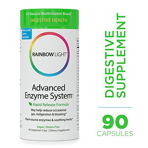 Rainbow Light – Advanced Enzyme System – Plant-Sourced Whole Food Enzyme Supplement, Supports Nutrient Absorption and Digestive Health; Vegan and Gluten-Free – 90 vCaps