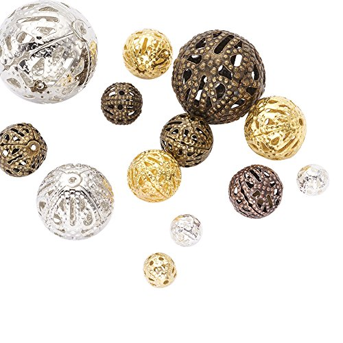 (Pandahall 100pcs Mixed Style Iron Filigree Beads Round Loose Spacer Hollow Beads for Jewelry Makings Mixed Color 8~20mm Hole: 0.5~1mm)