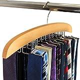 Hangerworld Premium Wooden Tie Hanger Rack Organizer - Holds...