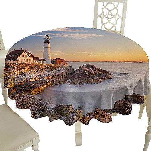 outdoor round tablecloth 60 Inch United States,Cape Elizabeth Maine River Portland Lighthouse Sunrise USA Coast Scenery,Pale Blue Tan Great for,family,outdoors,restaurant,Party,Wedding,Coffee Bar,trav -