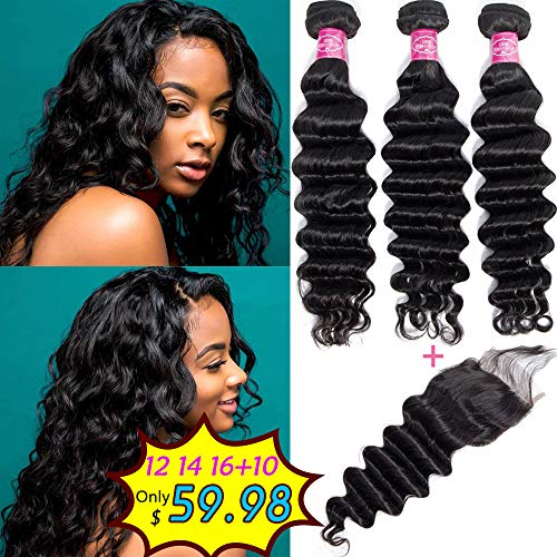 Brazilian Loose Deep Wave Bundles with Closure Virgin Human Hair with Closure Full and Thick Top Swiss Lace Frontal Closure With Baby Hair Natural Black (12 14 16 + 10) ()