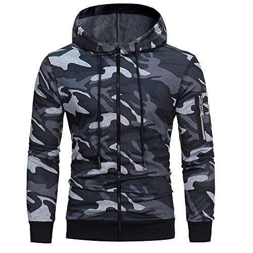 Hoodies for Mens, WOCACHI Mens' Long Sleeve Camouflage