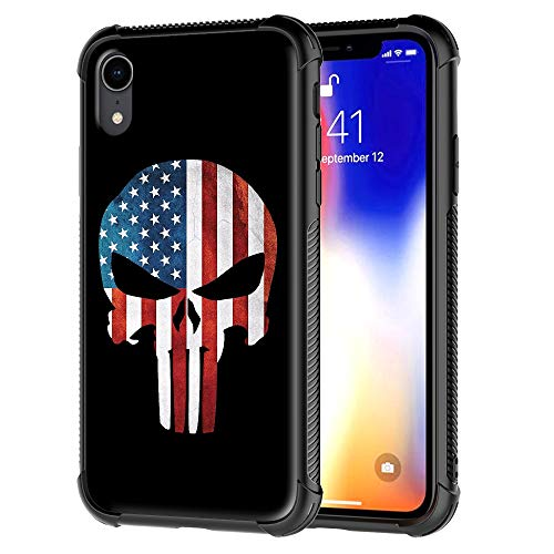 iPhone XR Case, iPhone Xr Phone Cover, Punisher American Skull Flag Pattern Tempered Glass Back Cover Soft TPU Bumper Frame Shock Absorption Case for Apple iPhone ()