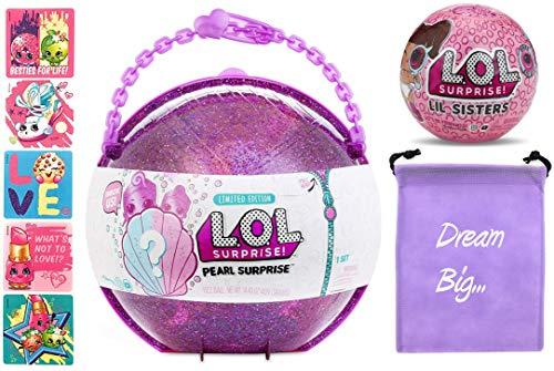 LOL Surprise MEGA Bundle Includes (1) Limited Edition Pearl Surprise, (1) Eye Spy Lil Sister Doll (5) Shopkins Glitter Stickers and (1) Bonus Action Media Storage ()