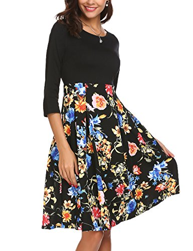 3 Casual Dress for Empire Sleeve Dresses Waist Women 4 Beyove 1 Floral Black Midi PwTIxWqSWv