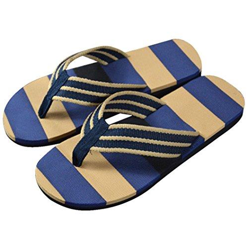 Kolylong Men Summer Stripe Flip Flops Beach Sandals Slipper Blue