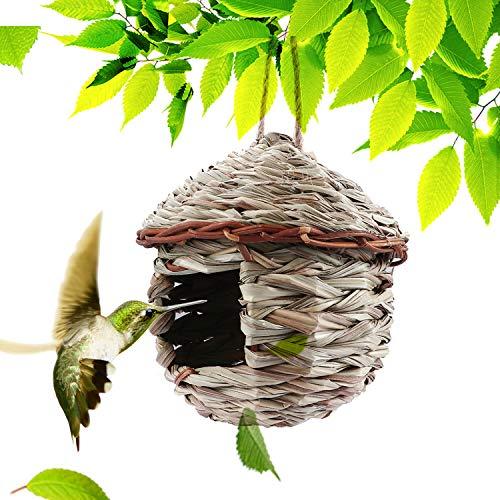 Kimdio Birds House,Winter Bird House,Bird Houses for Outside Hanging,Birdhouse for Kids,Natural Bird Hut,Bird Nest,Bluebird House Outdoor, Songbirds House, Grass Handwoven Bird Nest, Roosting Pocket