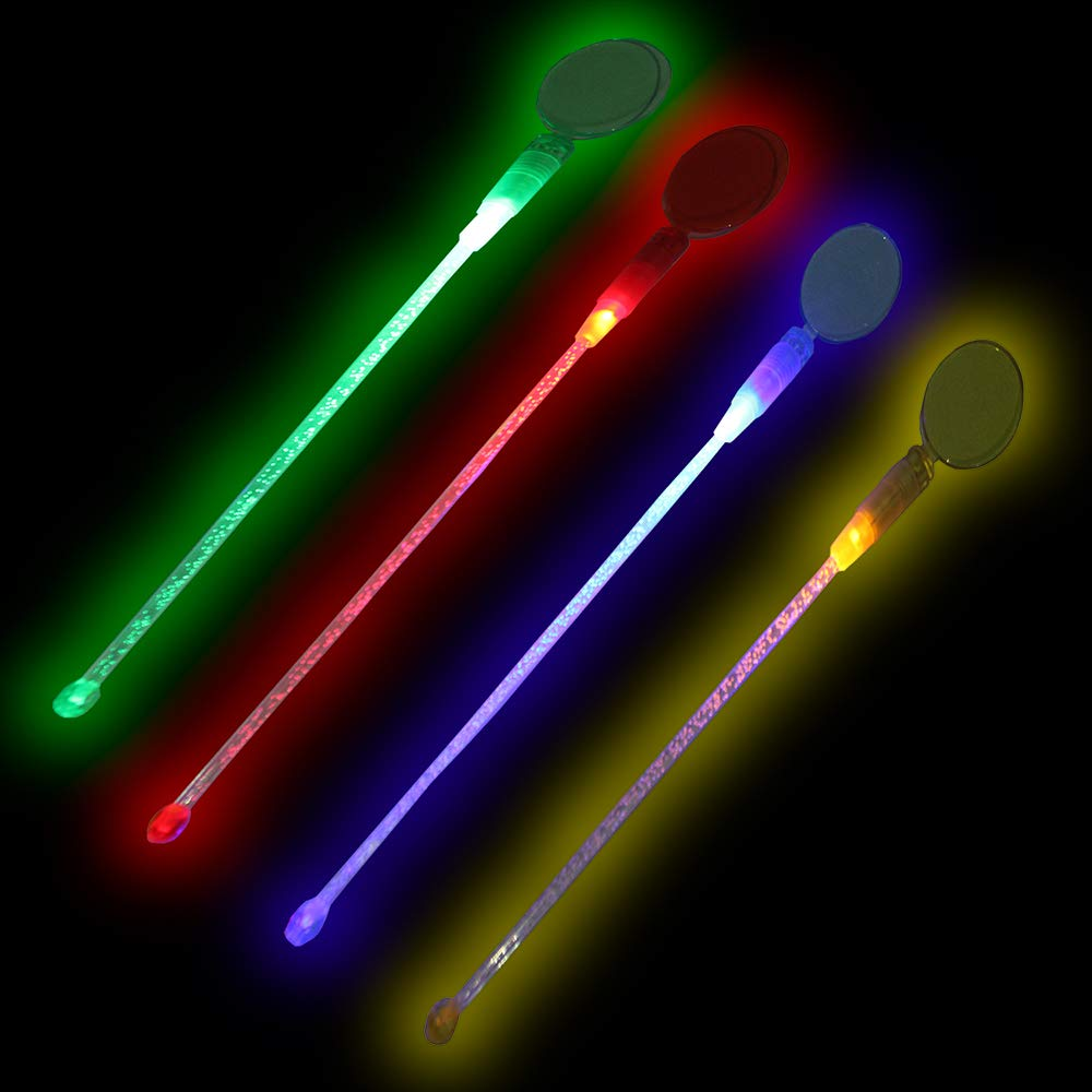 Lumistick LED Light Up Circle Topper Cocktail Stirrers - Glowing Light Straws Favors Night Club Parties Liquid Plastic Swizzle Drink Stick (Assorted, 25 Pack)