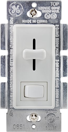 GE Toggle-Style ON/Off with Slide Lighted Dimmer Home Audio Crossover, White (18027)