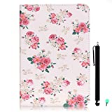 iPad Air/Air2 Case, iPad 5/6 Case, fengus Ultra Slim PU Leather Cover Stand Flip Case Cover with Cute Pattern Design Back Shell for Apple iPad Air/iPad Air 2+Stylus+Dust plug-Floral