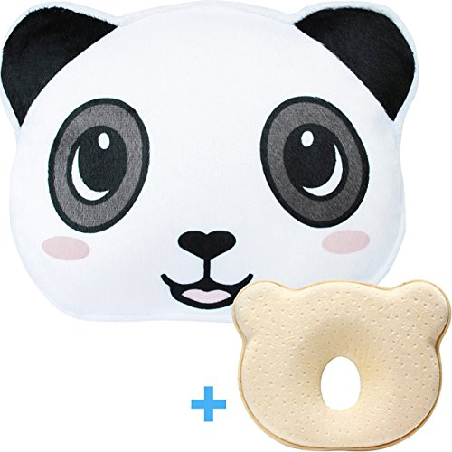 Baby Head Shaping Pillow for Newborn | Infant Anti Flat Head and Neck Support Pillow for Sleeping | Breathable Memory Foam Support Pillow with Washable Panda Pillowcase by Kit n Baby