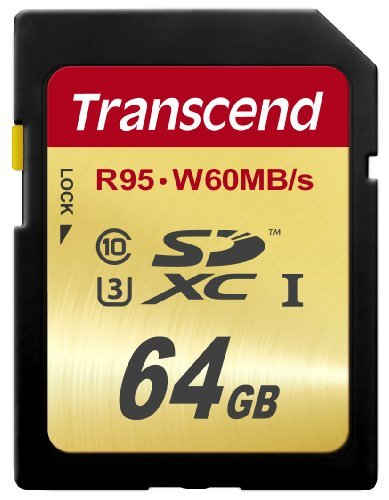 Transcend 64 GB High Speed 10 UHS-3 Flash Memory Card 95/60 MB/s (TS64GSDU3),Gold 1 Ideal for Full 1080p HDD, Ultra 2160p HD, 3D and 4K video recording.Operating Temperature -25°C(-13°F) to 85°C(185°F) Up to 95/60 MB/s ; Minimum constant 30 Mb/s write speed guaranteed for real-time video recording Supports Ultra High Speed Class 3 specification (U3)