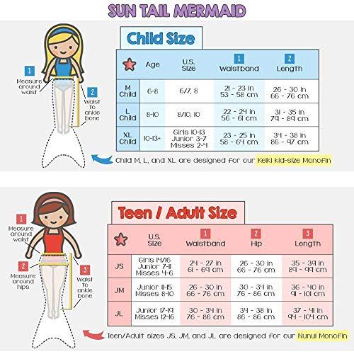 Nunui Mermaid Set, Lime Rickey Tail, Teen/Adult Large (JL) 12-16, Lime Monofin
