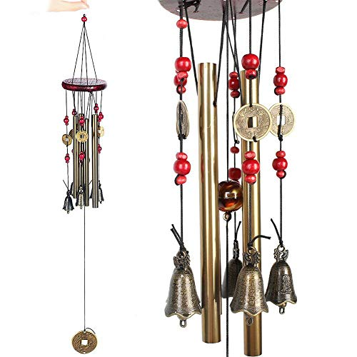 (MIRX Wind Chimes - Bronze Metal Wind Chime 4 Tubes 5 Bells Woodstock 60cm Pure Handmade Wind Chimes Outdoor Indoor for Garden and Home, with Magical)
