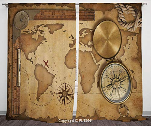Satin Window Drapes Curtains [ Map,Aged Vintage Treasure Map Ruler Rope Old Compass Antique Adventure Discovery,Brown Light Brown ] Window Curtain Window Drapes for Living Room Bedroom Dorm Room Class]()