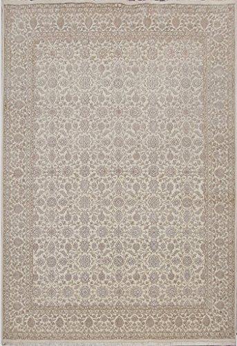 Persian Nain Inspired Wool & Silk Fine Rug 9' x 12' Handmade Carpet From INDIA ()