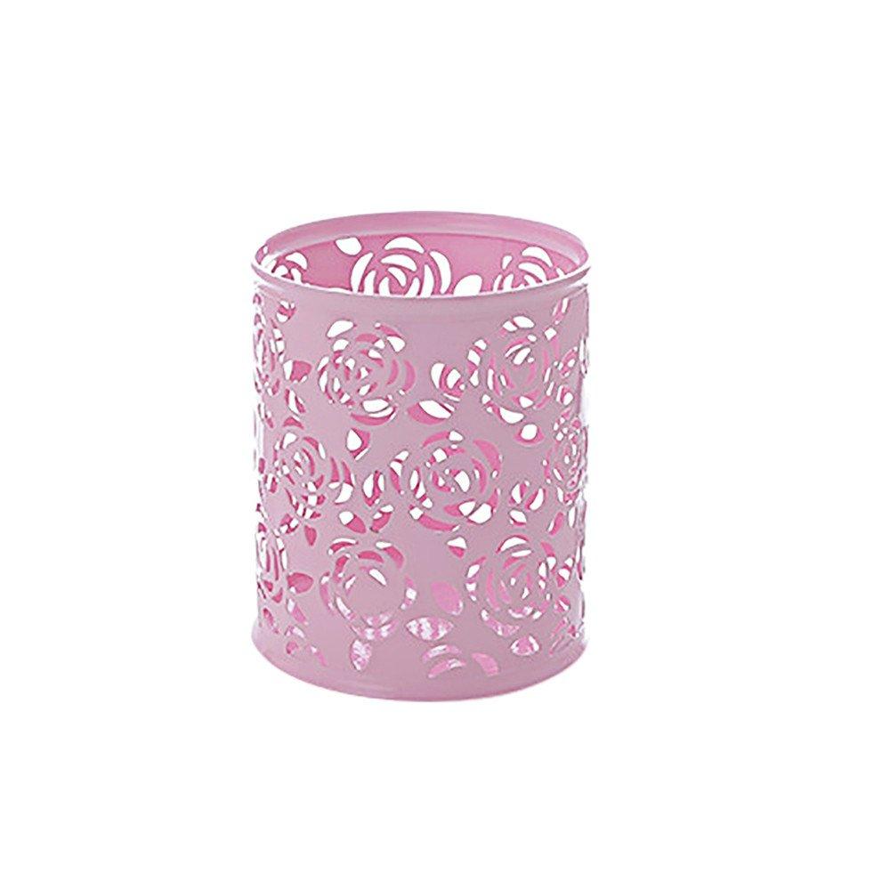 Sikye Metal Pen Cup Holder Hollow Out Desktop Storage Basket Makeup Brush Vase for Bedroom Office