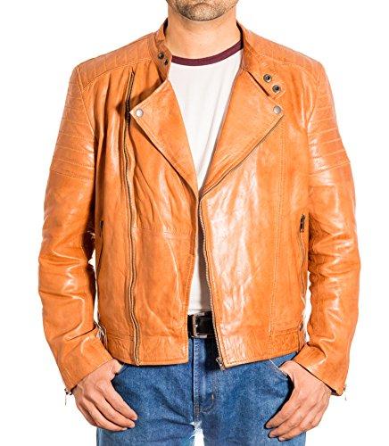 Biker Chaqueta Matelass Vintage Marr Cuero Brando e Side Hombres Zip Collar Classic w6pOHFq