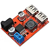 Icstation DC to DC Voltage Regulator Dual USB Charger 6-40V to 5V 3A Step Down Power Supply Buck Converter DC 5.5X2.1mm Port