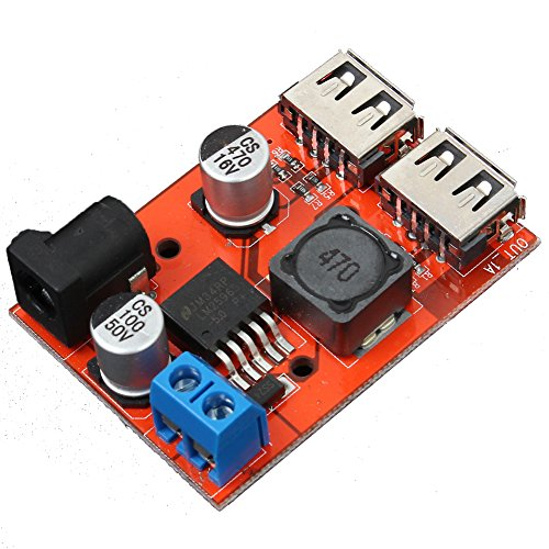 Power Mini Board (Icstation LM2596 DC to DC Voltage Regulator Dual USB Charger Step Down Power Supply Buck Converter 6-40V to 5V 3A DC 5.5X2.1mm Port)