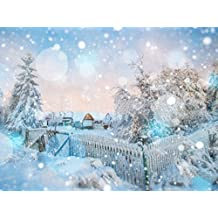 Winter Photography Backdrops Christmas Village Wood House in Snowy Fence White Snow Trees Snowflakes Light Spot Photo Studio Backgrounds Digital 7x5 ft