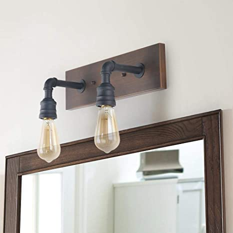 LNC Bathroom Vanity Lights Farmhouse Wood And Water Pipe Wall Sconces 2 Heads A03375