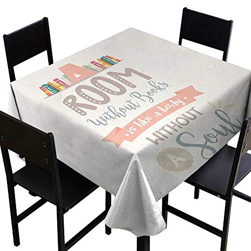 - Glifporia Tablecloth Square Book,Book Shelf Illustration with A Room Without Books is Body Without Soul Quote Print,Multicolor,W70 x L70 Table Cloth Home Decoration