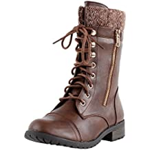 Forever Link Womens Mango-31 Round Toe Military Lace Up Knit Ankle Cuff Low Heel Combat Boots