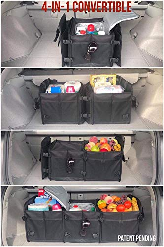 Minivan Auto Tuff Viking Trunk Organizer 4-in-1 Built-in Cooler Bag, Black Car Truck Organizers and Cargo Storage for SUV Jeep Accessories with Tie Down Straps