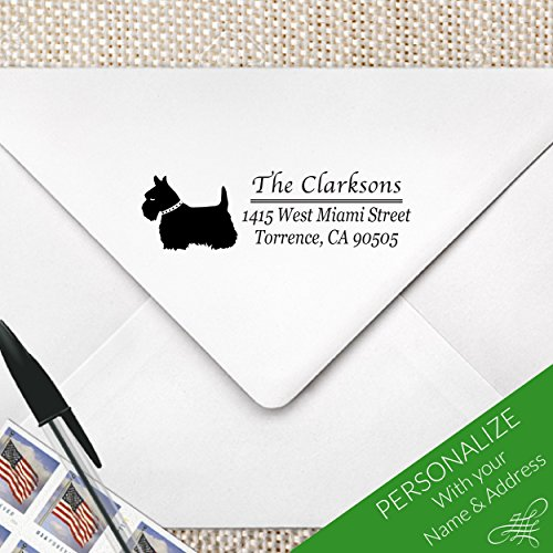 Personalized Scottish Terrier Return Address Stamp, MS-REC-20 (Inked Fox)