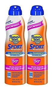 Banana Boat Sunscreen Sport Performance Broad Spectrum Sunscreen Spray, SPF 50, 6 ounces (Pack of 2)