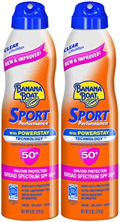 Banana Boat Sunscreen Sport Performance Broad Spectrum Sunscreen Spray, SPF 50, 6 ounces (Pack of 2)