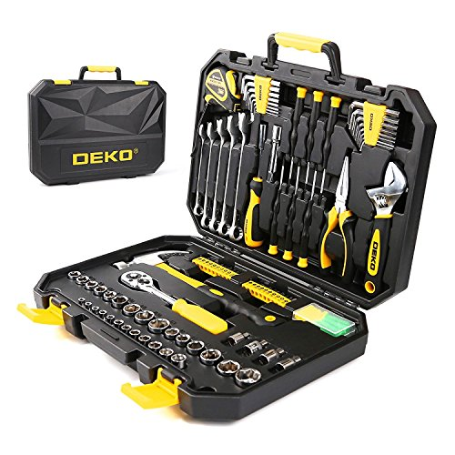 DEKO 128pcs Socket Wrench Tool Set Auto Repair Mixed Tool Combination Package Hand Tool Kit with Plastic Toolbox Storage Case (Metric Socket Tool Kit)