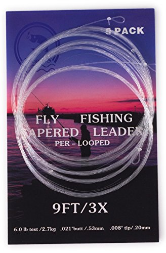 5 Pack- 9' Fly Fishing Tapered Leader with Loop, Size 0X to 7X Available (3X)