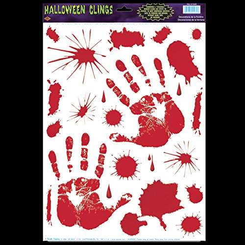 [Gothic Horror Prop Dexter Psycho BLOODY HAND PRINTS CLINGS Halloween Decorations] (80s Fancy Dress Ideas Men)