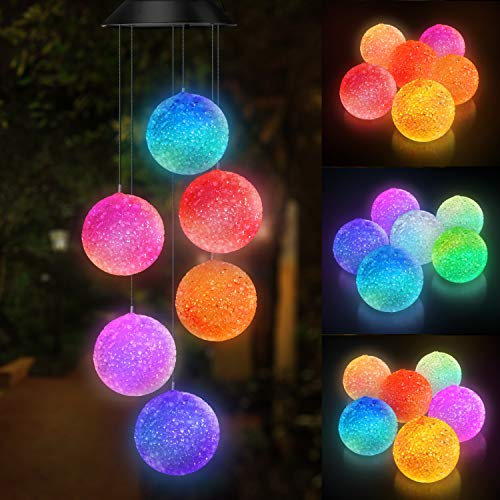 Topspeeder Color Changing Solar Power Wind Chime Spiral Spinner Crystal Ball Wind Mobile Portable Waterproof Outdoor Decorative Romantic Wind Bell Light for Patio Yard Garden Home (Crystal Ball)]()