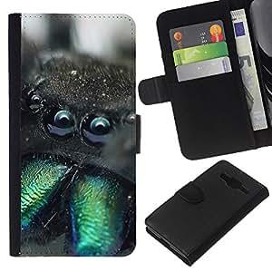 """Be-Star la tarjeta de Cr¨¦dito Slots PU Funda de cuero Monedero caso cubierta de piel Para Samsung Galaxy Core Prime ( Criatura linda Monstruo peludo Ara?a Animal"""" )"""