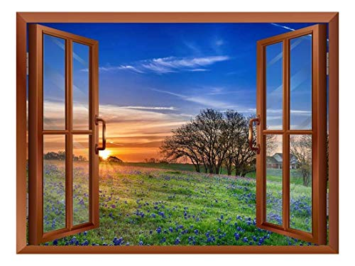 Beautiful Grass Field View from Inside a Window Removable Wall Sticker Wall Mural