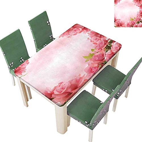 Printsonne Indoor/Outdoor with Romantic Roses with Leaves Bridal Wedding Marriage Corsage Pink Coral Green Kitchen Tablecloth Picnic Cloth 54 x 120 Inch (Elastic Edge)