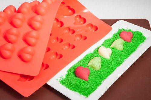 (Truffly Made. Heart Chocolate Truffle, Jelly and Candy Mold, 54 cavities, One step candy pop-out)