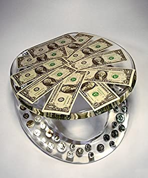 REAL U.S. DOLLARS & COINS MONEY LUCITE RESIN TOILET SEAT, Standard Round