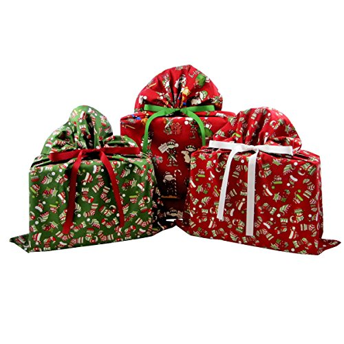 Bundle of Three Reusable Christmas Gift Bags: Santa's Workshop Large, Red Christmas Stockings Medium, and Green Christmas Stockings Medium
