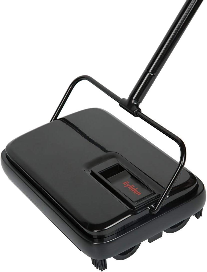 Eyliden Carpet Floor Sweeper Hand Push Automatic Compact Broom 4 Corner Edge Brushes Black