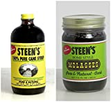 Steens Sweetening 2 Item Lagniappe Bundle- 1 Steens 100% Pure Cane Syrup 16 Oz and 1 Steens Home Style Molasses 11.5 Oz
