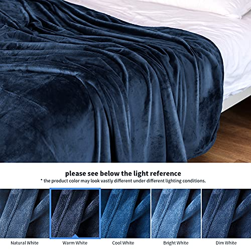 Fleece Soft Blankets Throw for Couch and Bed - Navy, ALEEN & AJEAN 50x60 inches Throw Size Cozy Lightweight Fuzzy Flannel Blanket Microfiber Blanket Luxury Blanket for Couch/Bed/Camping/Travel