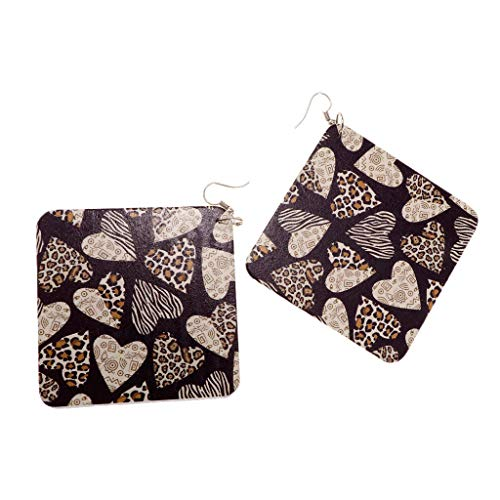 Fashion Women African Lady Brown Square Wood Heart Printed Earrings Hook