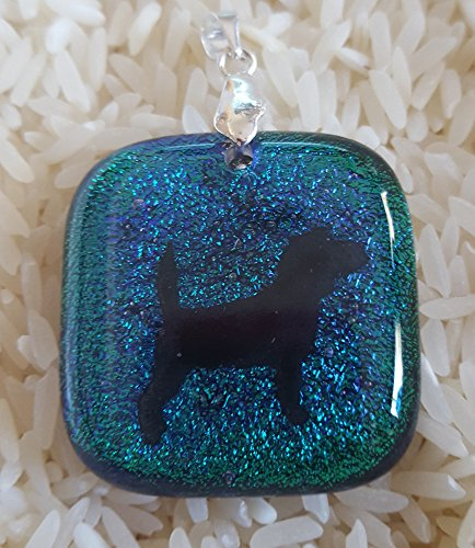 Handmade Black Beagle on Teal Green Dichroic Fused Glass Pendant with Sterling Silver -